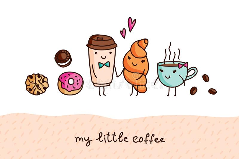 Kawa i cukierki, śliczni kreskówka wektoru elementy ilustracja wektor