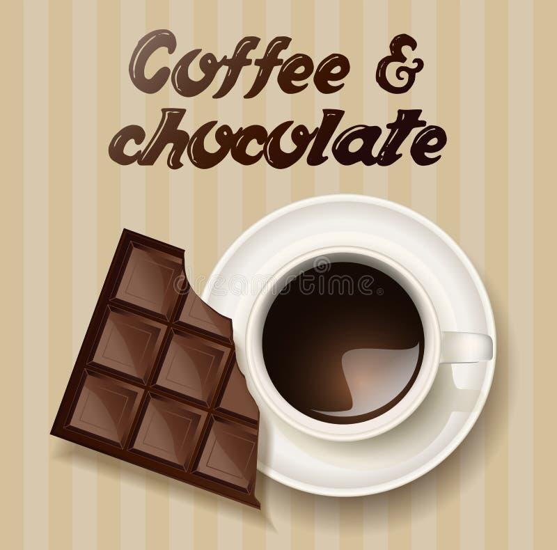 Kawa i czekolada ilustracji