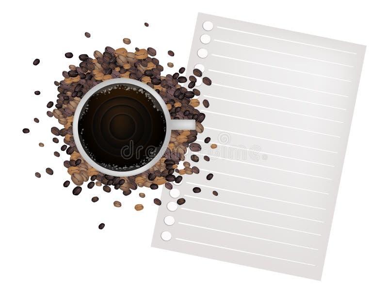 Kawa i fasola z Pustym papierem ilustracja wektor