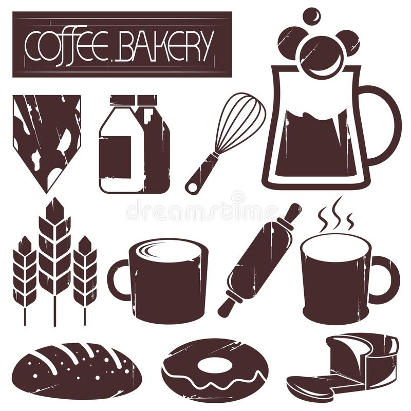 Kawa i piekarnia royalty ilustracja