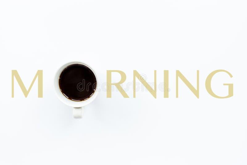 Kawa i poranek na białym tle Styl płaski Koncepcja kawy Przydatny obraz do projektowania Dzień dobry, budzcie się obraz stock