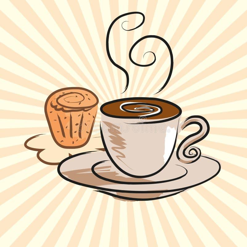 Kawa i tort ilustracji