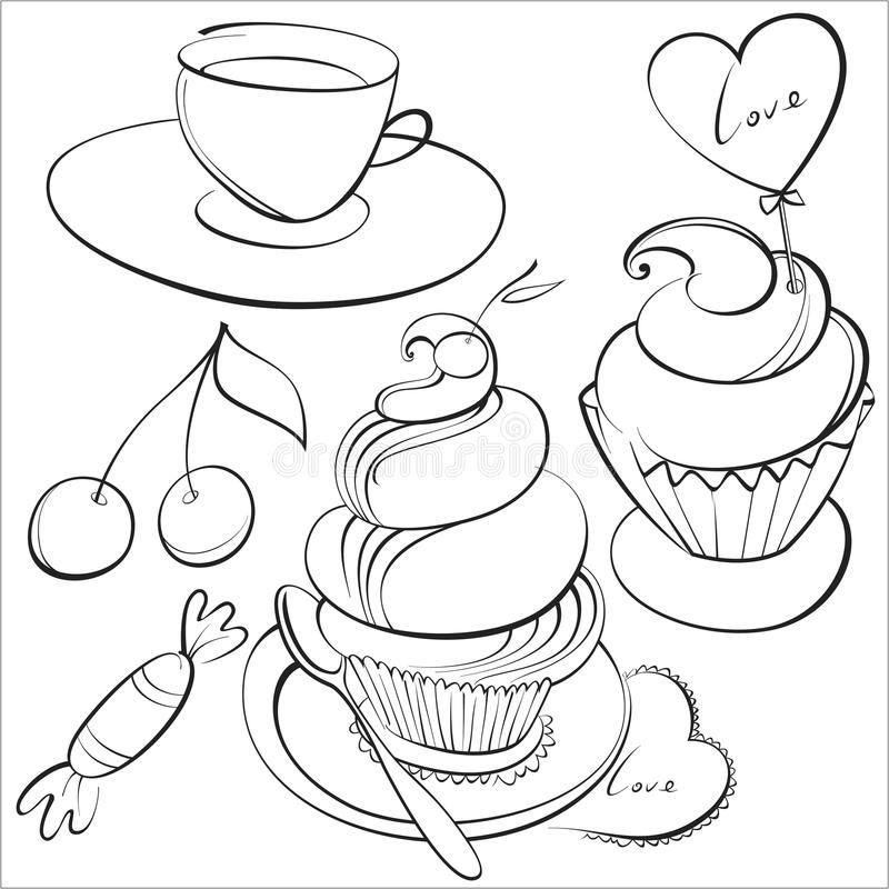 Kawa i torty royalty ilustracja
