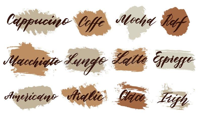 kawa idzie Coffe przepis i typ    ilustracja wektor