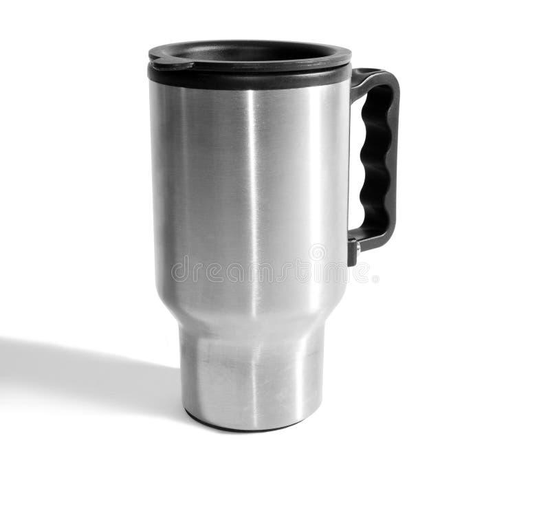 kawa izolujący kubka stalowy biel zdjęcia stock
