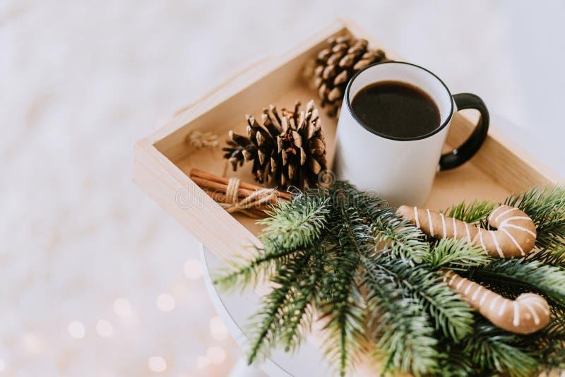 Kawa na tacy zdjęcie royalty free