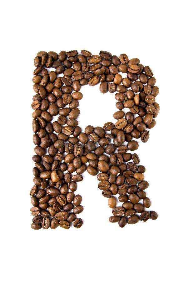 kawa odizolowywający listu r biel zdjęcia stock