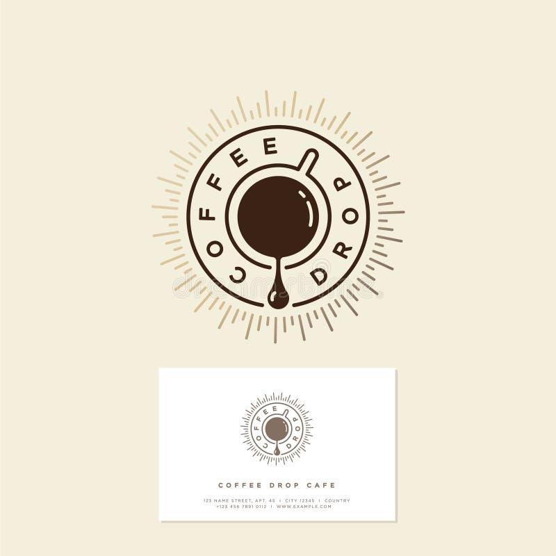 Kawa opadowy cukierniany logo Kawowy emblemat Kawy kropla i filiżanka kawy z złocistymi sunrays royalty ilustracja