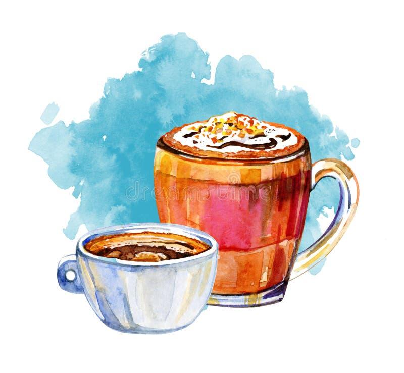 Kawa pije akwareli ilustrację Ręka rysujący nakreślenie z dwa kubkami americano, mokka i błękitna plama, ilustracji