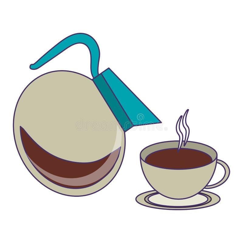 Kawa pije pojęcie niebieskie linie ilustracji