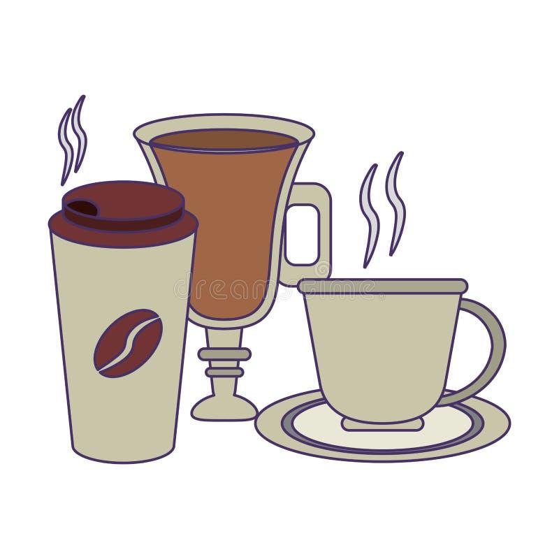 Kawa pije pojęcie niebieskie linie royalty ilustracja