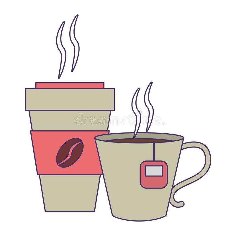 Kawa pije pojęcie niebieskie linie ilustracja wektor