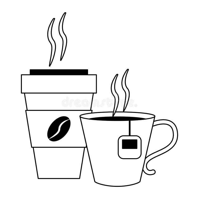 Kawa pije pojęcie w czarny i biały ilustracja wektor