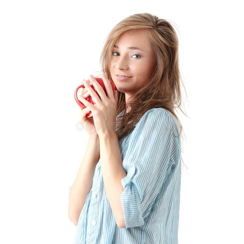 Download Kawa Pije Ranek Herbaty Kobiety Zdjęcie Stock - Obraz złożonej z szczęście, szczęśliwy: 13337416