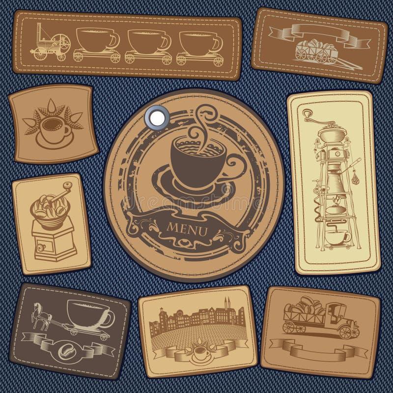 kawa przylepiać etykietkę set ilustracji