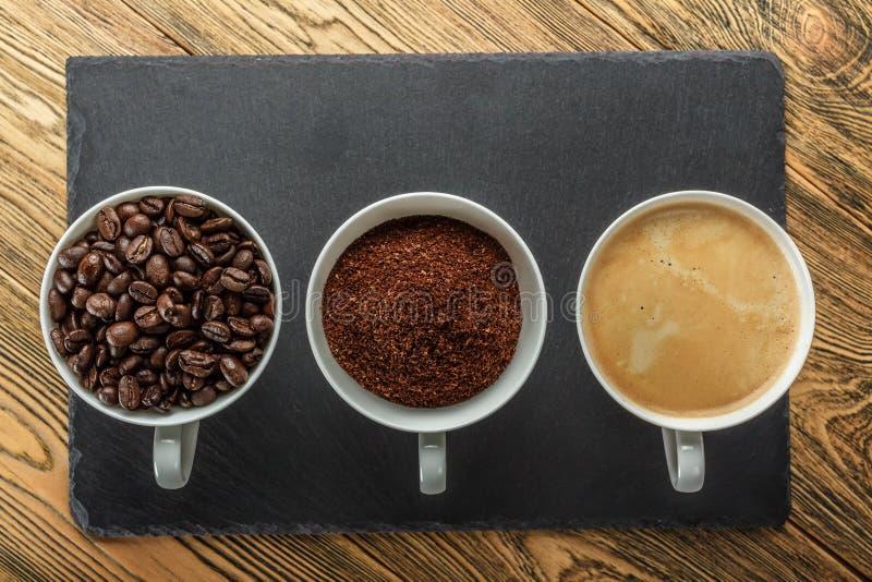 Kawa, ranku początek Szybkościomierz energia kreatywnie pomysł Gorąca kawa, odgórny widok fotografia stock