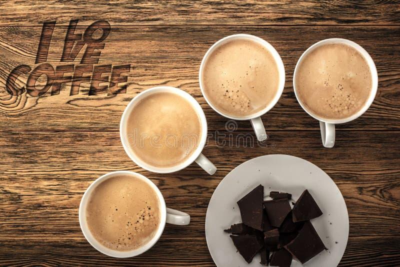Kawa, ranku początek Szybkościomierz energia kreatywnie pomysł Gorąca kawa, odgórny widok fotografia royalty free