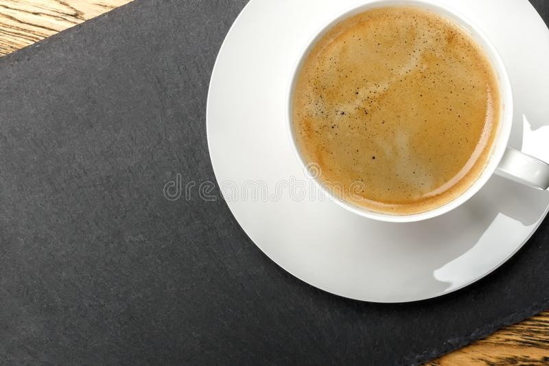 Kawa, ranku początek Szybkościomierz energia kreatywnie pomysł Gorąca kawa, odgórny widok zdjęcie royalty free