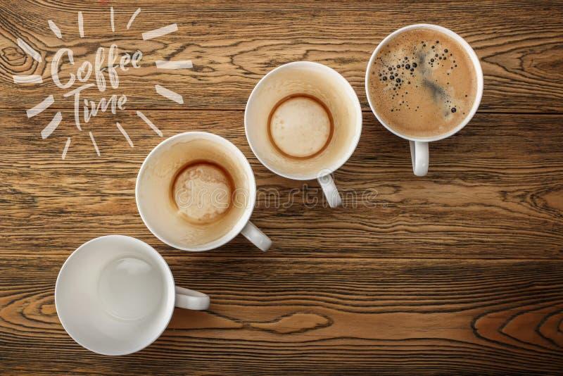 Kawa, ranku początek Szybkościomierz energia kreatywnie pomysł Gorąca kawa, odgórny widok zdjęcie stock