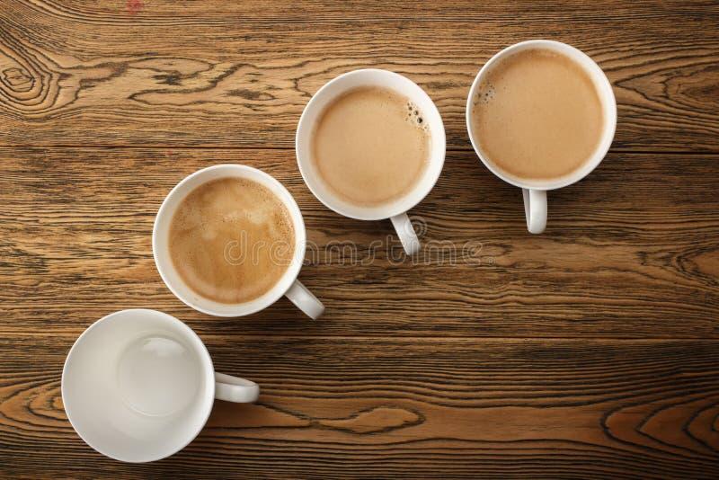 Kawa, ranku początek Szybkościomierz energia kreatywnie pomysł Gorąca kawa, odgórny widok obraz stock