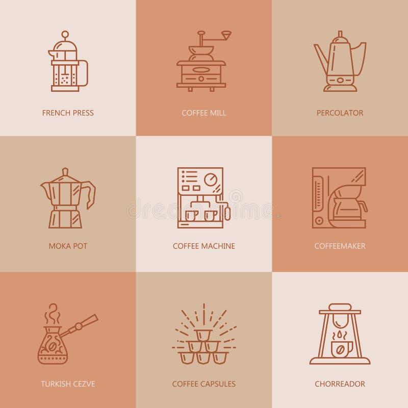 Kawa robi wyposażeniu, browarniane metody cienieje kreskowe ikony ilustracja wektor