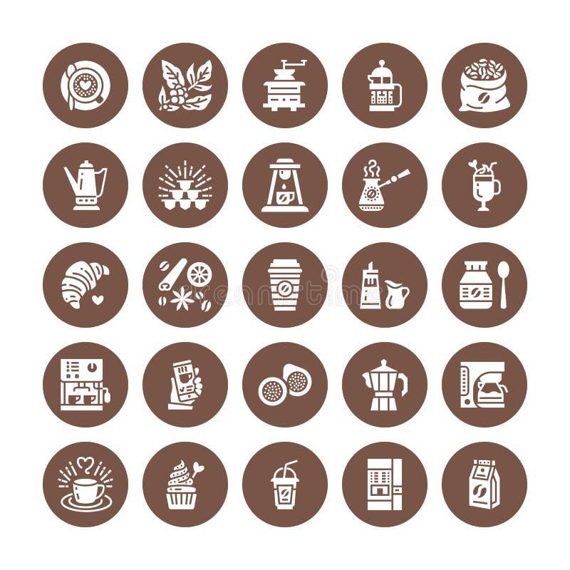 Kawa robi wyposażeniu płaskim glif ikonom Elementy - moka garnka francuza prasa, ostrzarz, kawa espresso, vending, roślina, crois ilustracji
