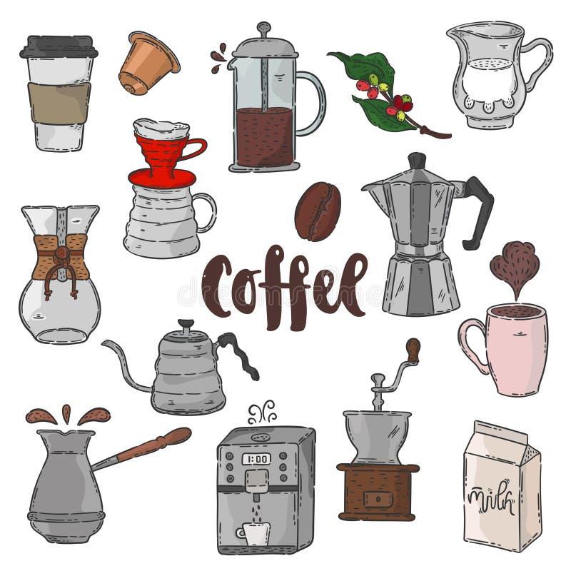 Kawa ustalony wektor royalty ilustracja