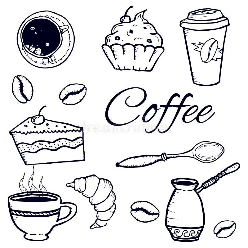 Kawa ustawiająca: cezve, filiżanka, łyżka, cukier, kawowe fasole, babeczki, papierowa filiżanka nakreślenie wektoru odosobniony w fotografia royalty free