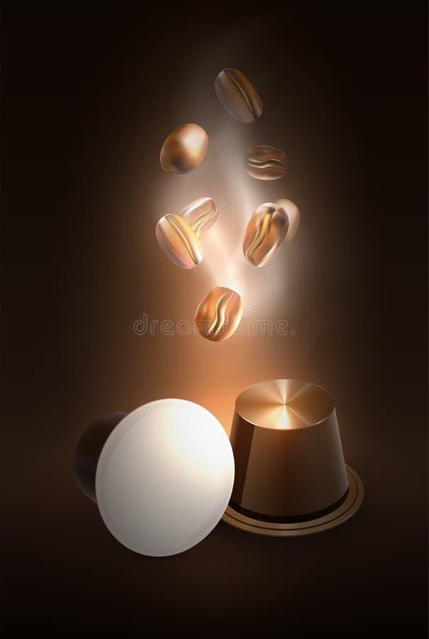 Kawa w kapsułach dla kawy espresso maszyny Świeżość lub wielki aromat Ok?adkowy projekt kawa piec fasoli ilustracji