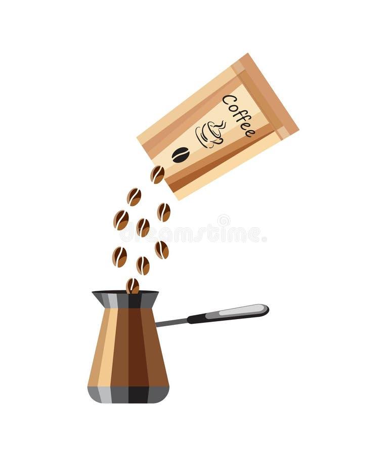Kawa w kawowych fasolach i pakunku Ikona kawowy producent z pakunkiem kawowe fasole na białym tle ilustracja wektor