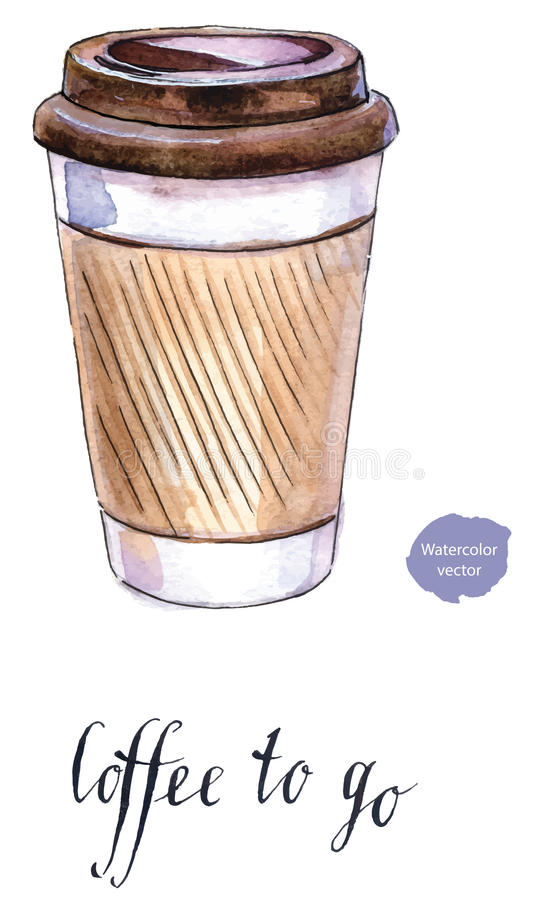 Kawa w pustym rzemiośle bierze oddaloną filiżankę ilustracji