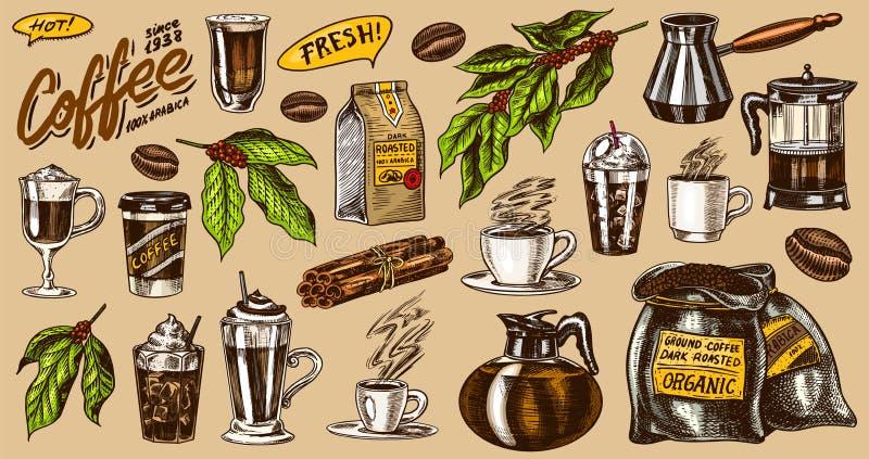 Kawa w rocznika stylu Torba adra, kakao liście, cynamonowi kije, filiżanka, teapot, kawowy producent i torba, royalty ilustracja