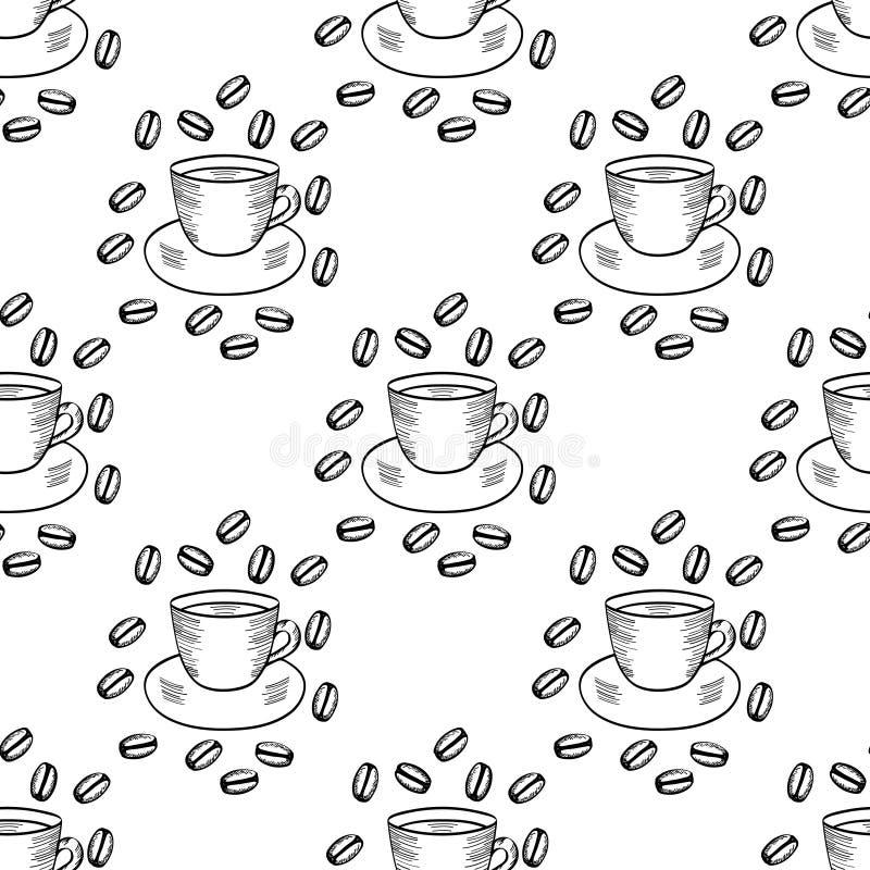 Kawa z fasolą, filiżanka, bezszwowy 1 ilustracja wektor