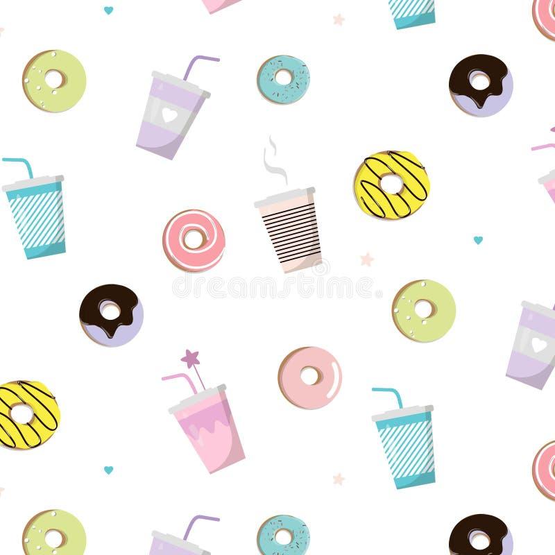 Kawa z pączka smakowitym wzorem Wektorowa przekąski ilustracja Śliczny druk z filiżanką i tortem Śniadaniowy ranku jedzenie słodk royalty ilustracja