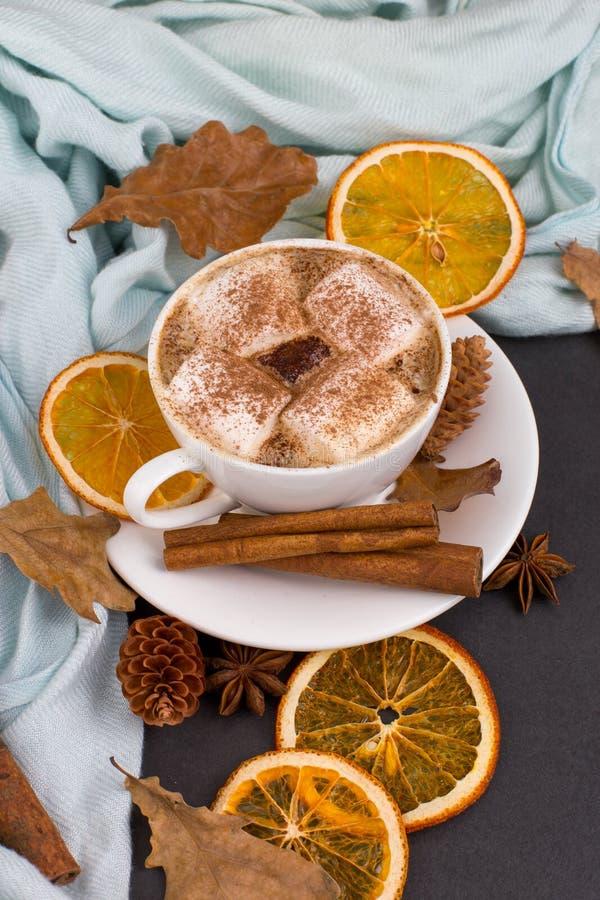 Kawa z piankami, kakao, chustką, liśćmi, suszonymi pomarańczami, przyprawami, na szarym tle Pyszny gorący napój jesienny, rano obraz royalty free