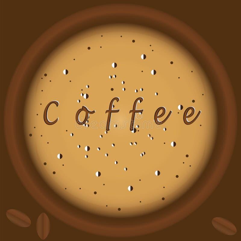Kawa z piankowej odgórnego widoku tła brązu ilustracyjnej sztuki kreatywnie nowożytnym wektorem zdjęcia stock
