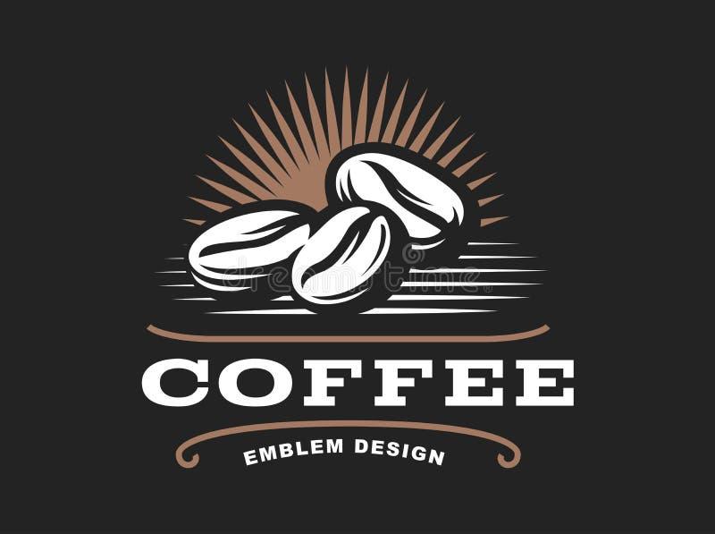 Kawa zbożowy logo - wektorowa ilustracja, emblemat na czarnym tle ilustracja wektor
