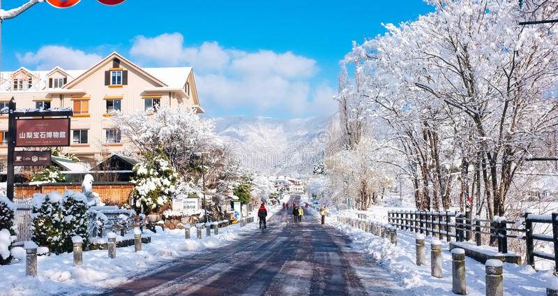 Kawaguchiko-Dorf, Japan stockfotografie