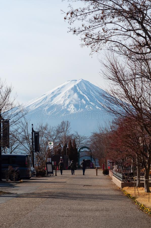 Kawaguchiko, Japón - 22 de febrero de 2019: opinión del pico de Fuji de la montaña de la ciudad de Kawaguchiko fotos de archivo libres de regalías