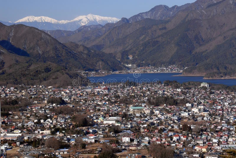 Kawaguchiko lake and Fujikawaguchiko town royalty free stock images