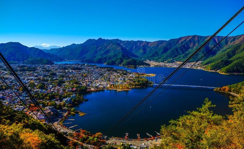 Kawaguchiko lake view with amazing sunshine. royalty free stock image
