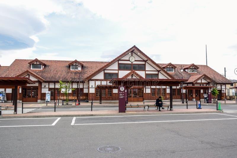 Kawaguchiko station, en järnvägsstation på den Fujikyuko linjen i Fujikawaguchiko, Yamanashi, Japan royaltyfria bilder