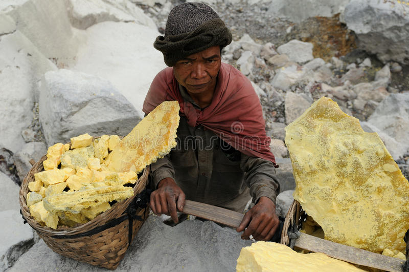 Kawah Ijen -用硫处理vulcano,印度尼西亚,东部Jawa 免版税库存图片