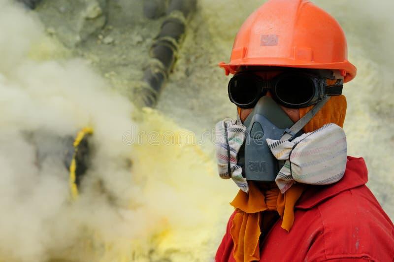 Kawah Ijen -用硫处理vulcano,印度尼西亚,东部Jawa 免版税图库摄影