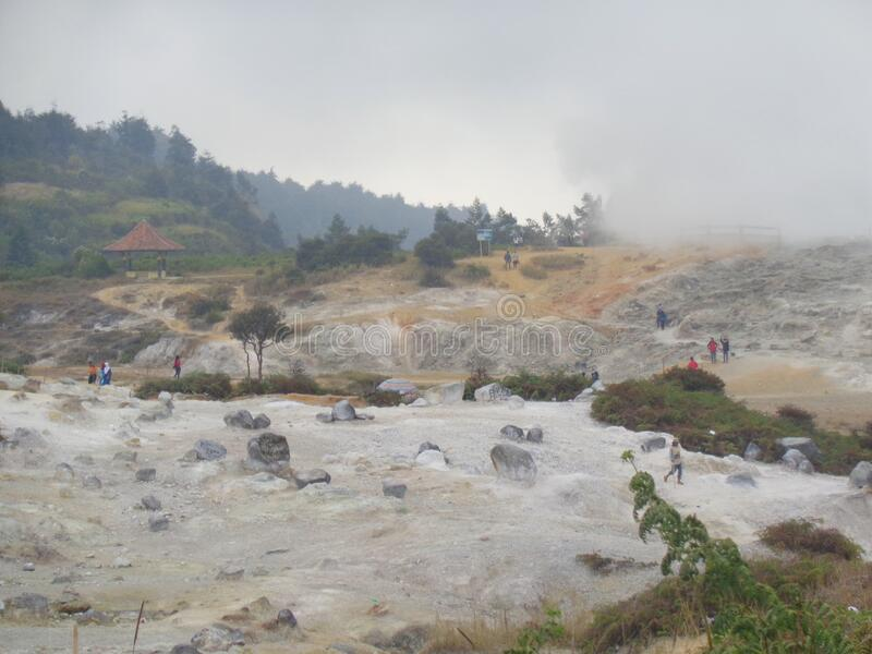 Kawah Sikidang or Sikidang crater in Dieng plateau, Wonosobo, Indonesia 2015 royalty free stock photo