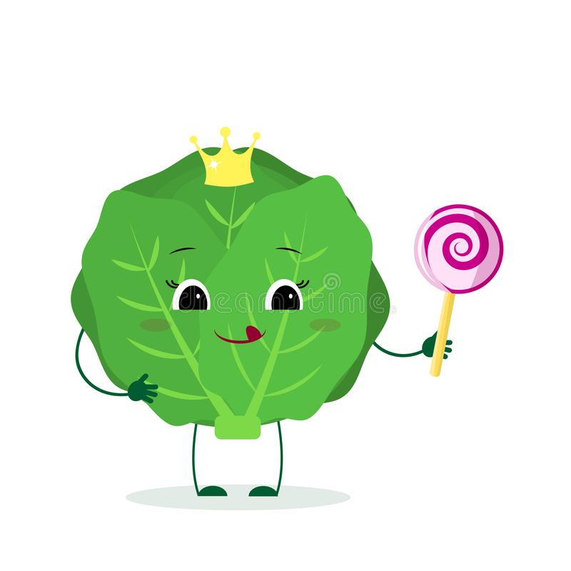 Kawai cute cabbage vegetable cartoon character in a crown with a lollipop. Logo, template, design. Vector illustration royalty free illustration