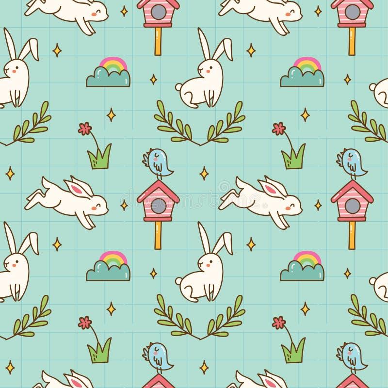 Kawaii兔宝宝和鸟无缝的样式 库存例证