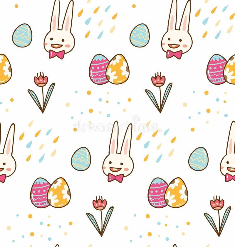 Kawaii复活节兔子无缝的背景 向量例证