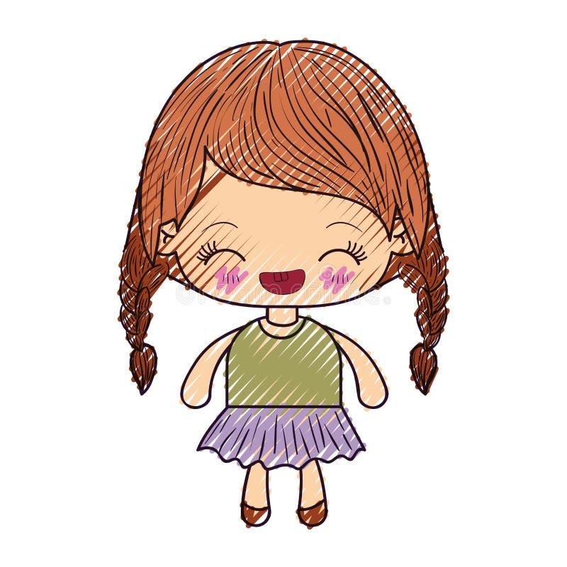 kawaii女孩色的蜡笔剪影有结辨的头发和表情笑的 皇族释放例证