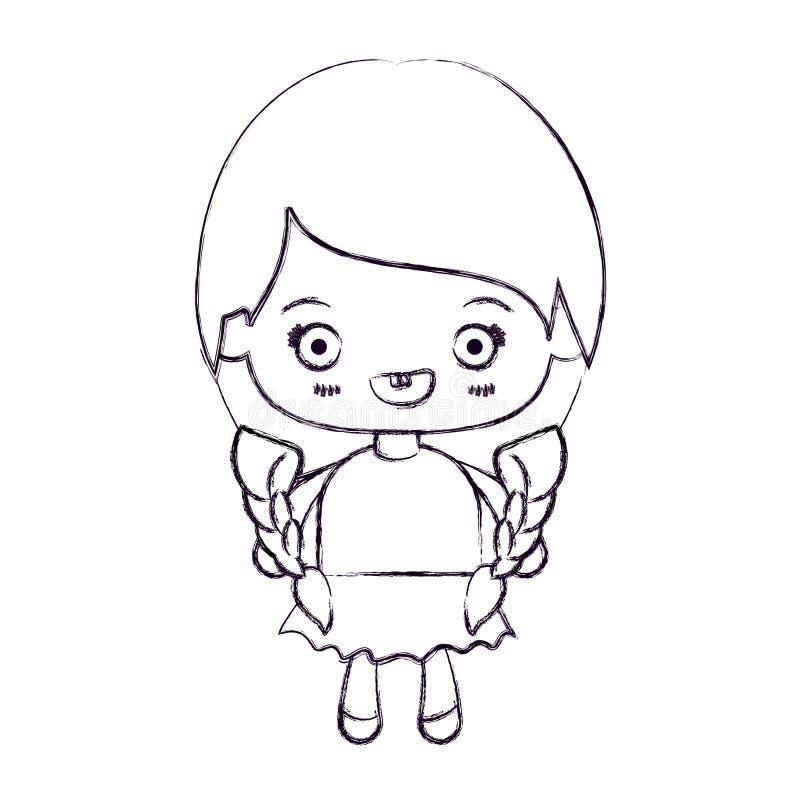 kawaii女孩被弄脏的稀薄的剪影有结辨的头发和微笑的 库存例证